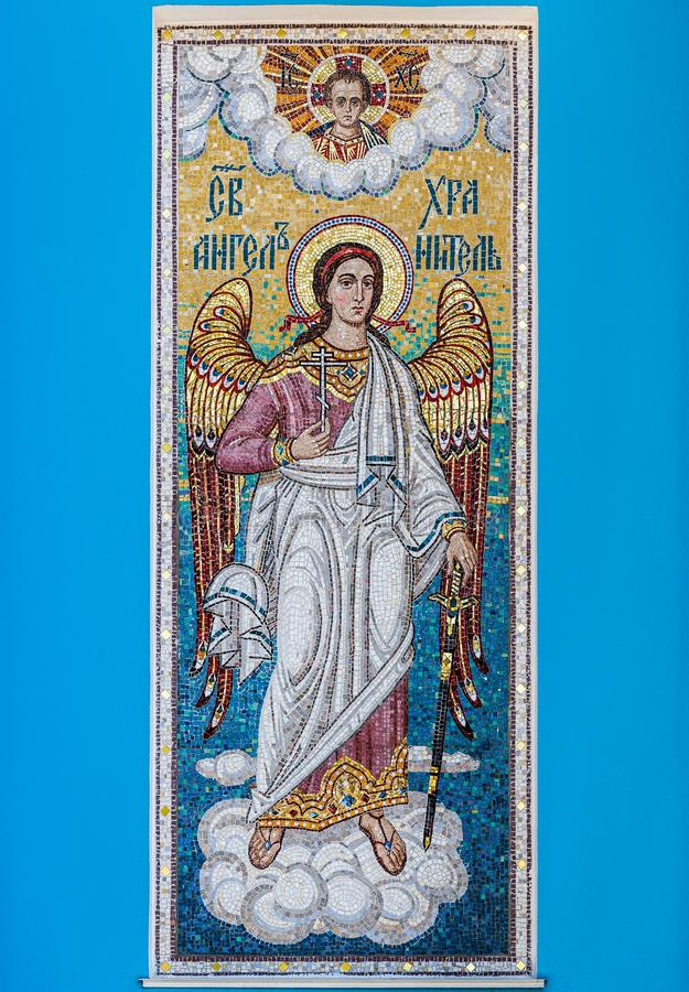 Mosaic of holy guardian angel royalty free stock photography