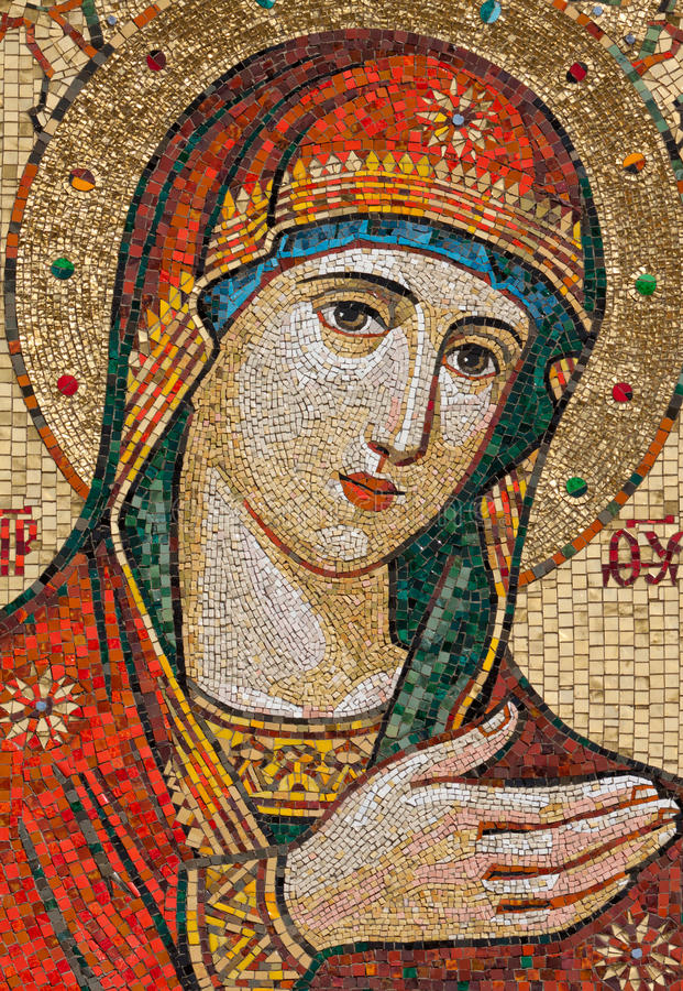Mosaic icon. Of the Mother of God located over collars of the Aleksandro-Neva monastery in St.-Petersburg, Russia royalty free stock photos