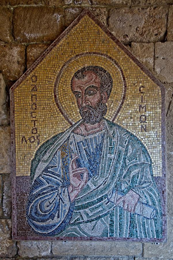 Mosaic icon 3 of 10 in Acropolis of Ialysos this is found in and around the hill of Philerimos in Ialysos Rhodes. Mosaic icon in Acropolis of Ialysos this is stock image