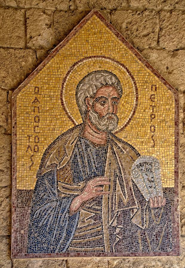 Mosaic icon 4 of 10 in Acropolis of Ialysos this is found in and around the hill of Philerimos in Ialysos Rhodes. Mosaic icon in Acropolis of Ialysos this is stock photos