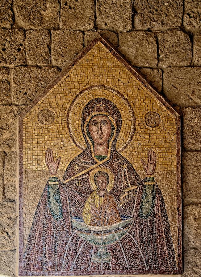 Mosaic icon 7 of 10 in Acropolis of Ialysos this is found in and around the hill of Philerimos in Ialysos Rhodes. Mosaic icon in Acropolis of Ialysos this is stock photography
