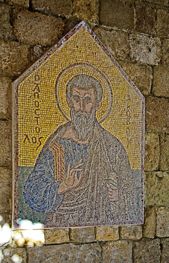 Mosaic icon 1 of 10 in Acropolis of Ialysos this is found in and around the hill of Philerimos in Ialysos Rhodes. Mosaic icon in Acropolis of Ialysos this is royalty free stock images