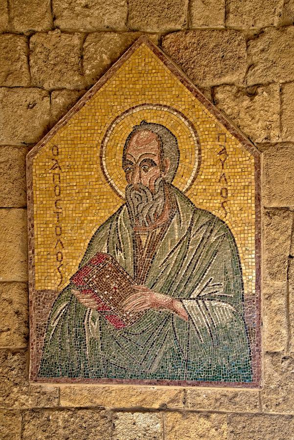 Mosaic icon 5 of 10 in Acropolis of Ialysos this is found in and around the hill of Philerimos in Ialysos Rhodes. Mosaic icon in Acropolis of Ialysos this is royalty free stock image