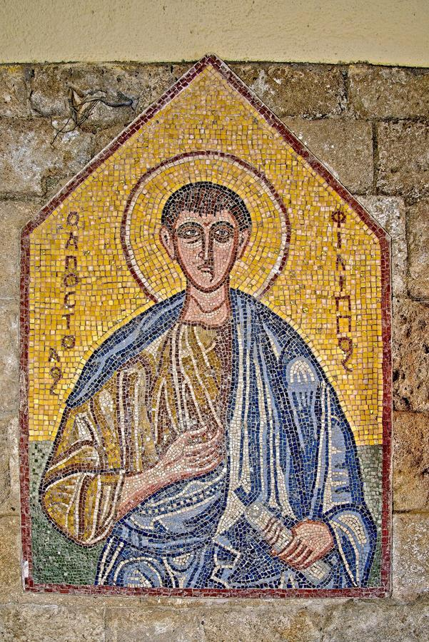 Mosaic icon 8 of 10 in Acropolis of Ialysos this is found in and around the hill of Philerimos in Ialysos Rhodes. Mosaic icon in Acropolis of Ialysos this is stock images