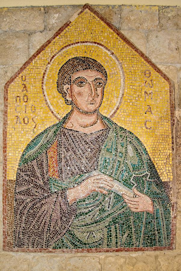 Mosaic icon 9 of 10 in Acropolis of Ialysos this is found in and around the hill of Philerimos in Ialysos Rhodes. Mosaic icon in Acropolis of Ialysos this is royalty free stock photos