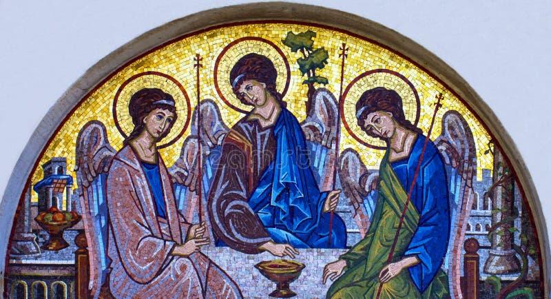 Mosaic icon of Holy Trinity in Orthodox Church, Budva, Montenegro stock images