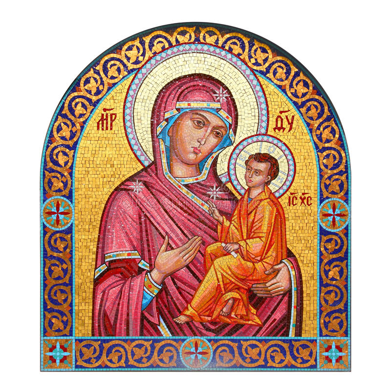 Mosaic icon of the Mother of God with Child. Mosaic icon in Moscow Cathedral, Russia royalty free stock photos