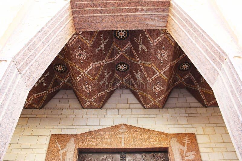 mosaic Igreja Católica do aviso em Nazareth, Izrael Detalhe interno, artístico e da arquitetura imagem de stock