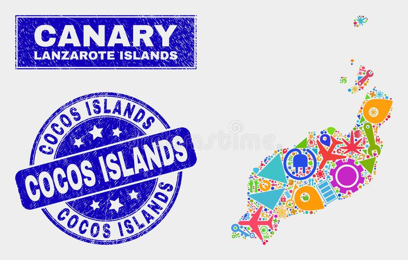 Collage Technology Lanzarote Islands Map and Scratched Cocos Islands Stamp Seal royalty free illustration