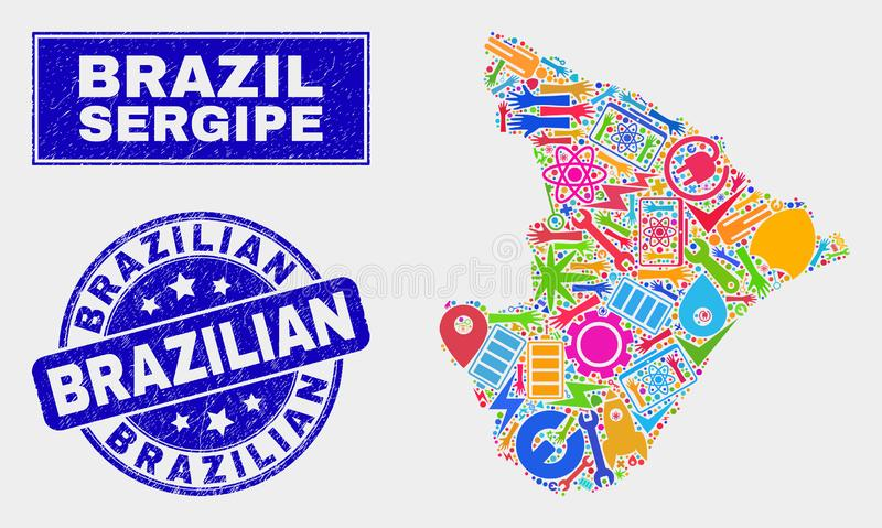 Collage Industrial Sergipe State Map and Scratched Brazilian Seal stock illustration