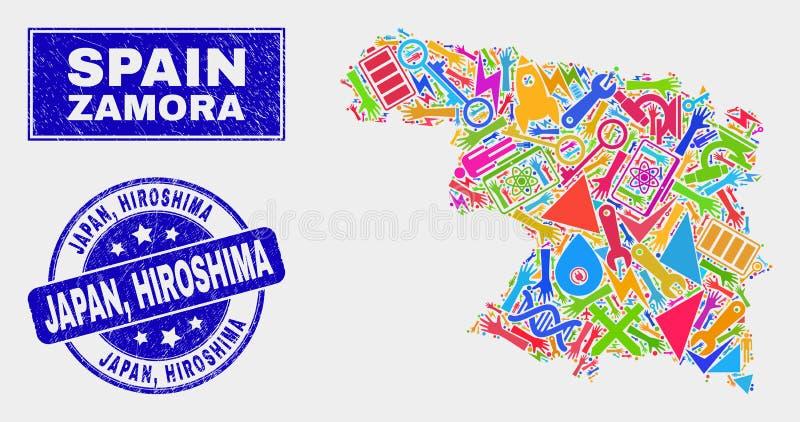 Mosaic Industrial Zamora Province Map and Grunge Japan, Hiroshima Watermark. Mosaic tools Zamora Province map and Japan, Hiroshima stamp. Zamora Province map stock illustration