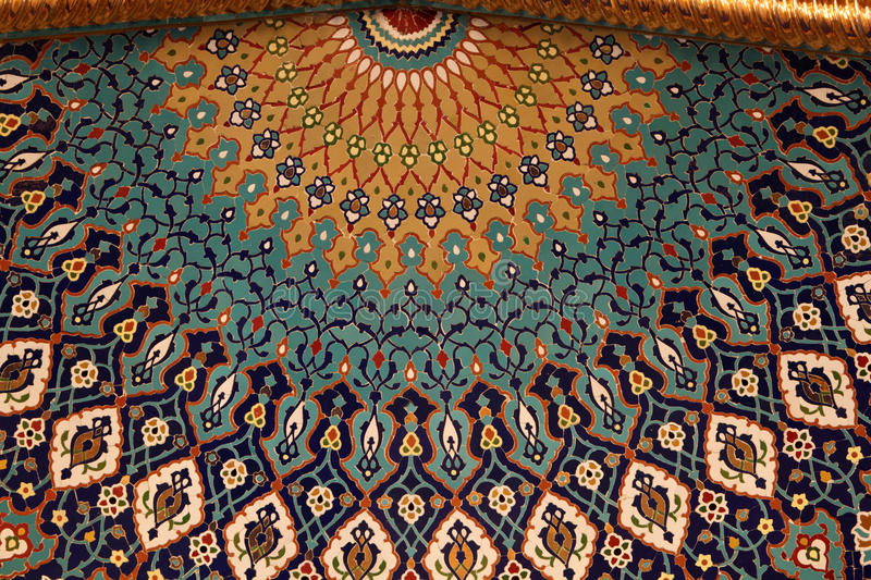Mosaic inside of a mosque stock images