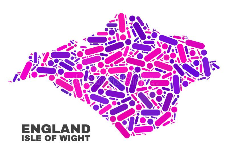 Mosaic Isle of Wight Map of Dots and Lines. Mosaic Isle of Wight map isolated on a white background. Vector geographic abstraction in pink and violet colors royalty free illustration