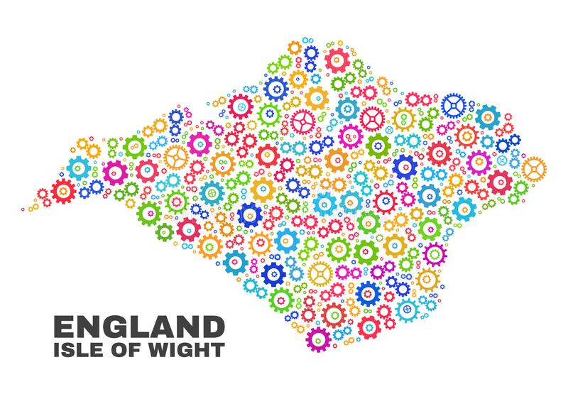 Mosaic Isle of Wight Map of Gearwheel Items. Mosaic technical Isle of Wight map isolated on a white background. Vector geographic abstraction in different colors stock illustration