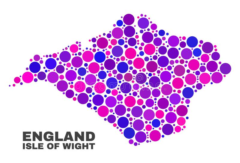 Mosaic Isle of Wight Map of Spheric Elements. Mosaic Isle of Wight map isolated on a white background. Vector geographic abstraction in pink and violet colors royalty free illustration