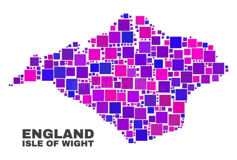 Mosaic Isle of Wight Map of Square Items. Mosaic Isle of Wight map isolated on a white background. Vector geographic abstraction in pink and violet colors vector illustration