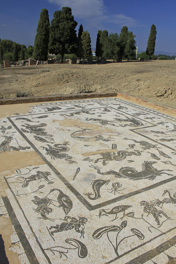 Mosaic at Italica ruins, Spain. Mosaic of Neptune, ancient Roman god at Italica, Spain. Italica is a well-preserved Roman city and the birthplace of Roman royalty free stock photos