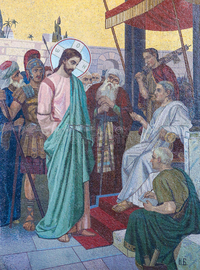Mosaic of Jesus and Pontius Pilate on Good Friday. Mosaic in the Church of the Savior on Spilled Blood in St. Petersburg, Russia, depicting Jesus before Pontius royalty free stock images