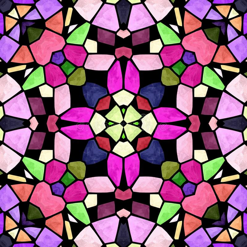 Mosaic kaleidoscope seamless pattern background - multi colored with black grout vector illustration