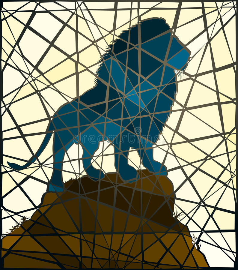 Mosaic lion. Editable vector mosaic illustration of a male lion standing on a rocky outcrop royalty free illustration