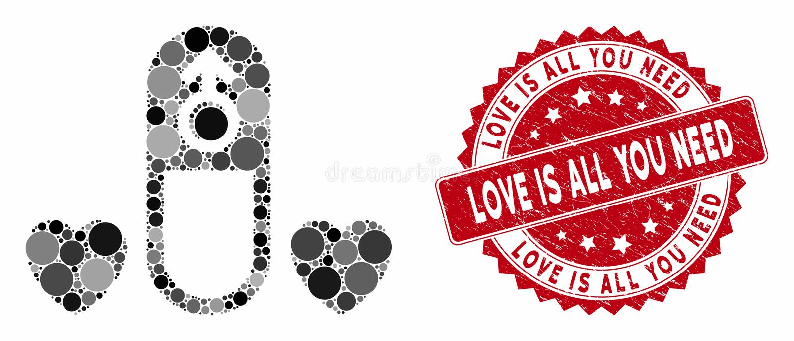 Mosaic Love Medication Pill with Grunge Love Is All You Need Stamp illustration de vecteur