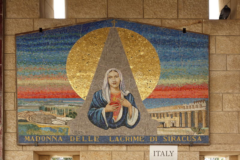 Mosaic of Madonna on a wall of the Church of Annunciation stock photo