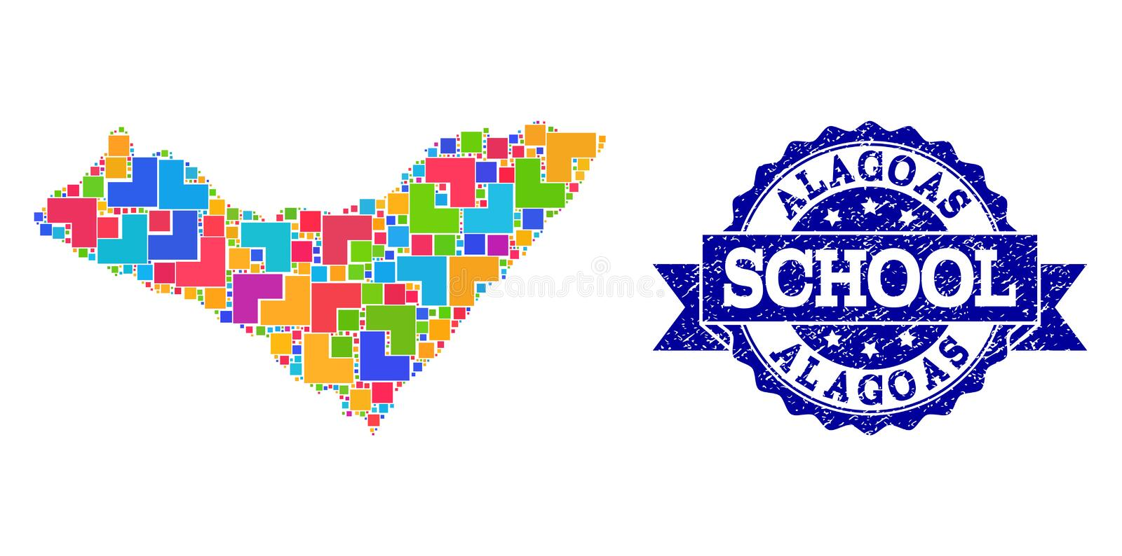Mosaic Map of Alagoas State and Textured School Stamp Composition. Mosaic puzzle map of Alagoas State and scratched school seal stamp with ribbon. Vector map of vector illustration