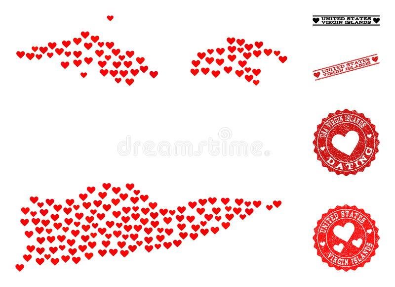 Heart Mosaic Map of American Virgin Islands and Grunge Stamps for Valentines royalty free illustration