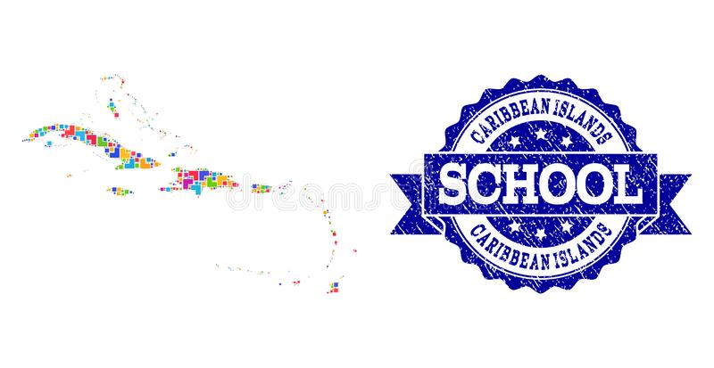 Mosaic Map of Caribbean Islands and Distress School Stamp Composition royalty free illustration