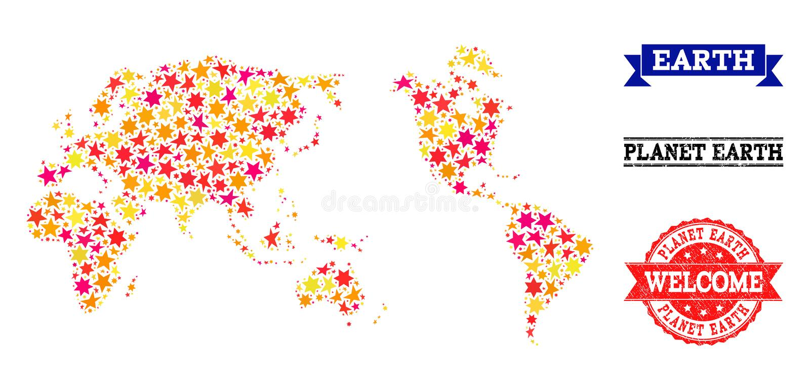 Star Mosaic Map of Earth and Rubber Watermarks stock illustration