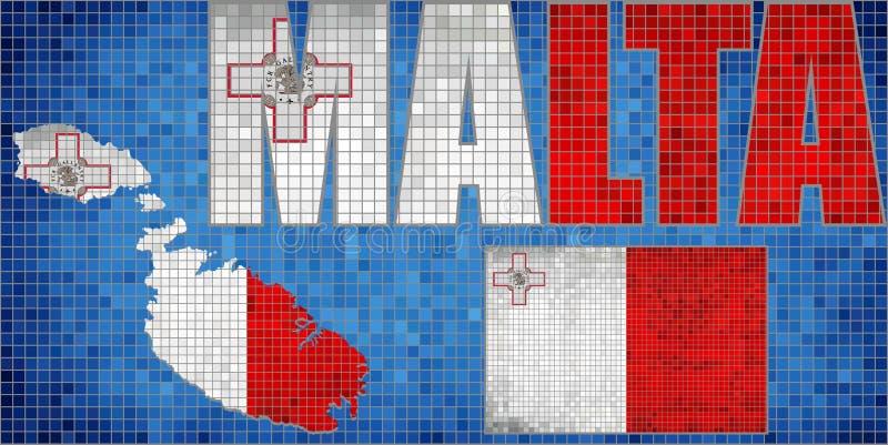 Mosaic map and flag of Malta stock illustration