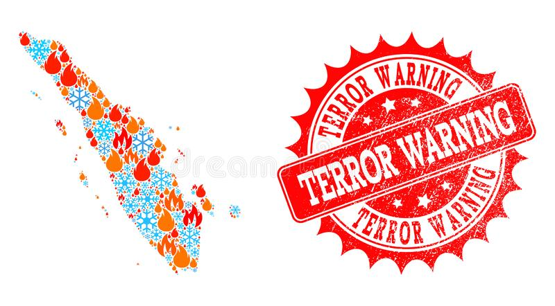 Mosaic Map of Sumatra Island of Fire and Snow and Terror Warning Distress Stamp. Composition of winter and flame map of Sumatra Island and Terror Warning grunge royalty free illustration