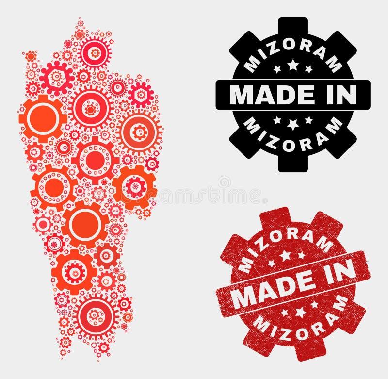 Mosaic Mizoram State Map of Cogwheel Items and Grunge Seal royalty free stock photography