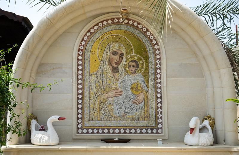 Mosaic of Mother of God in Monastery of St Gerasimus. QASR EL YAHUD, ISRAEL - APRIL 8 , 2017: mosaic of Mother of God in Monastery of St Gerasimus stock photos