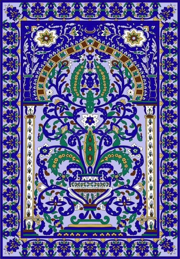 Arabic tile fresca flower blue stock illustration