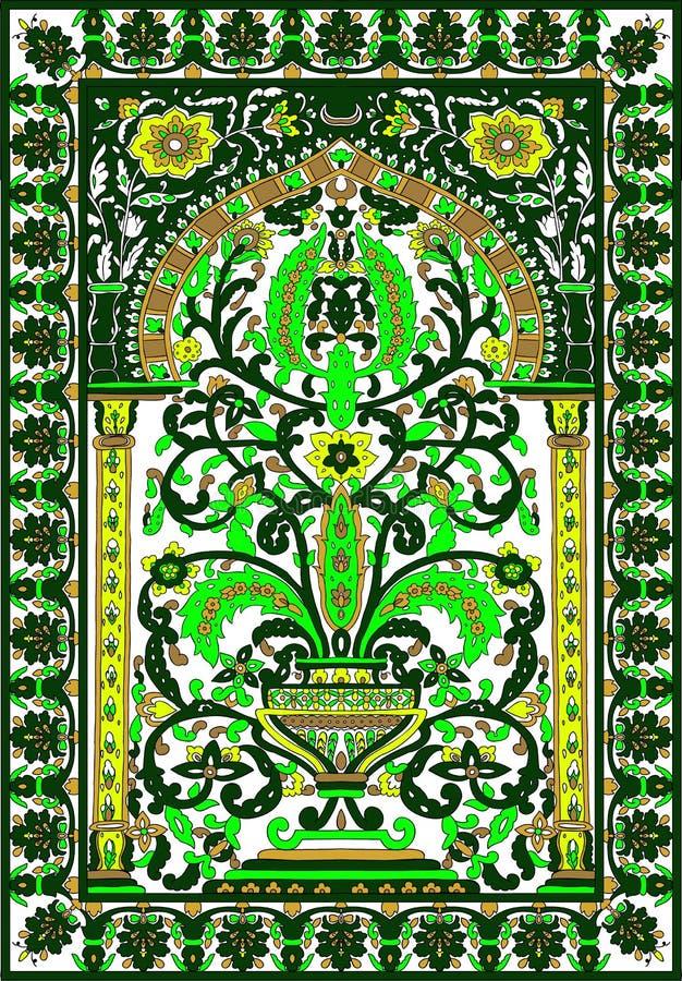 Arabic tile fresca flower green royalty free illustration