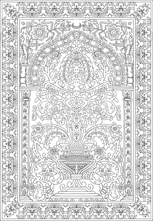 Arabic tile fresca flower black white vector illustration