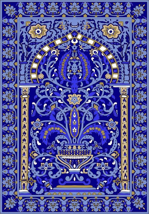 Arabic tile fresca flower blue light blue stock illustration