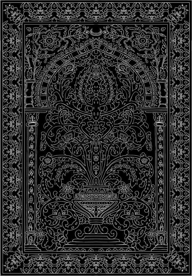 Arabic tile fresca flower white black vector illustration
