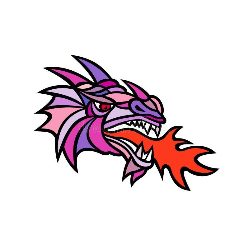 Mosaic Mythical Dragon Breathing Fire Mascot stock illustration
