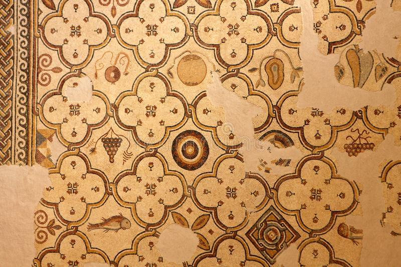 Mosaic, Nebo Mountain in Jordan. Ornate mosaic in the Memorial Church of Moses at Mount Nebo, Jordan royalty free stock photos