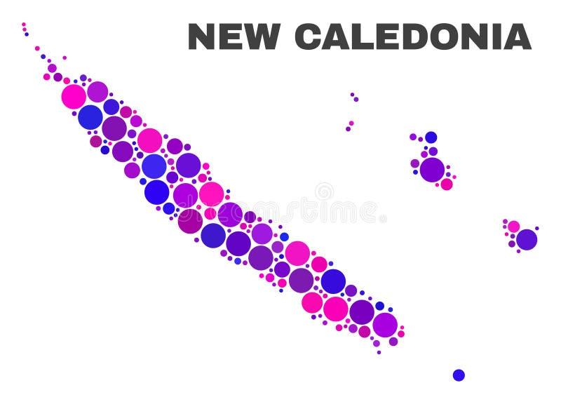 Mosaic New Caledonia Islands Map of Circle Dots vector illustration