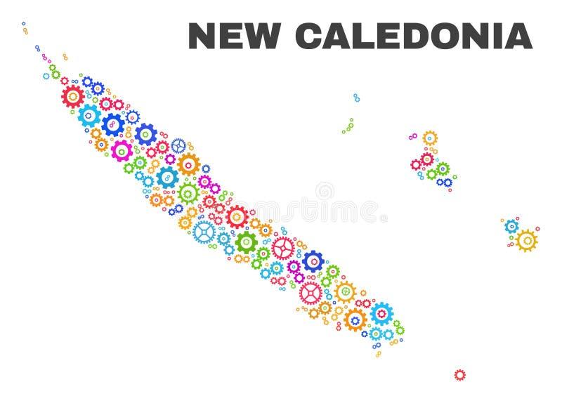 Mosaic New Caledonia Islands Map of Cog Items vector illustration