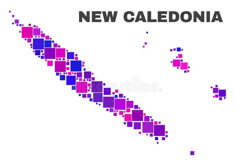 Mosaic New Caledonia Islands Map of Square Elements royalty free illustration