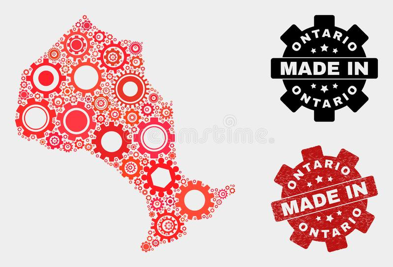 Mosaic Ontario Province Map of Gearwheel Items and Grunge Seal stock photos
