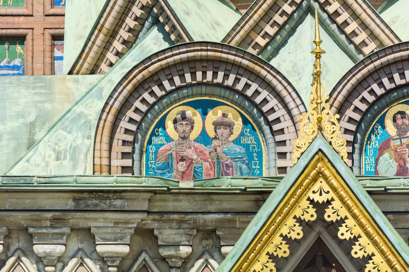 Mosaic on the outside of the Church of the Savior on Blood royalty free stock image