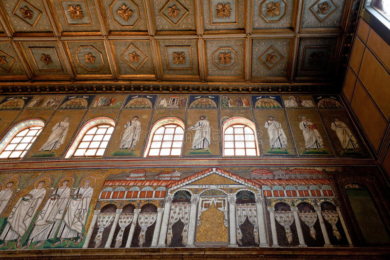 Mosaic of the Palace of Theodoric in Sant Apollinare Nuovo royalty free stock images