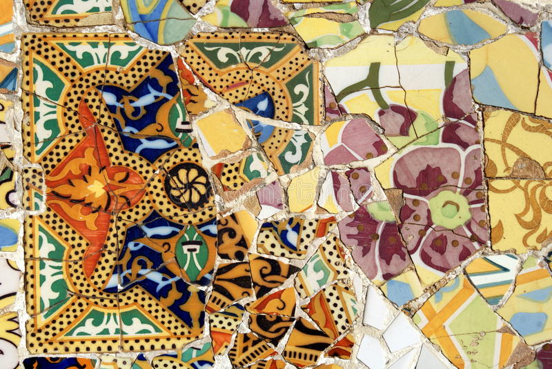 Mosaic In Park Guell, Barcelona Stock Images