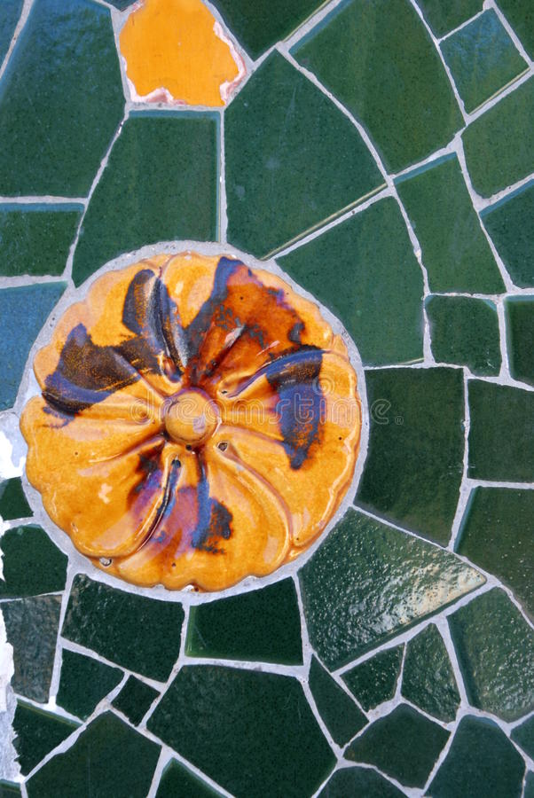 Mosaic In Park Guell, Barcelona Royalty Free Stock Photos