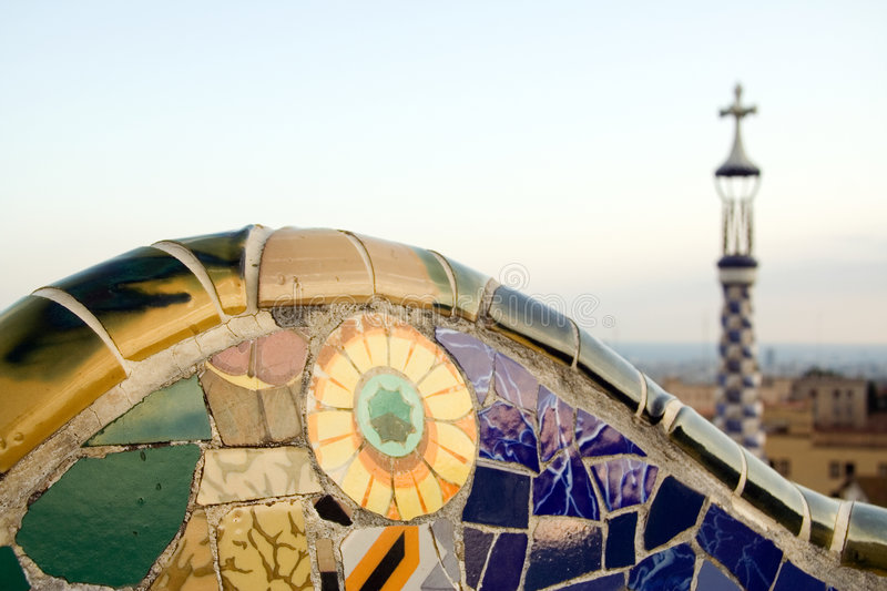 Download Mosaic In Park Guell, Designed By Antoni Gaudi Stock Photo - Image: 7751916